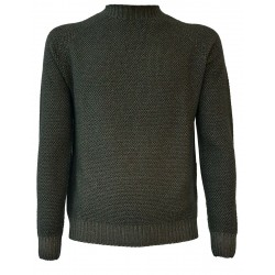 H953 Man round neck sweater GRANA DI RISO HS2904 military green MADE IN ITALY