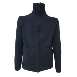 H953 Midnight blue open zip sweater with pockets mod. TOKIO HS3054 MADE IN ITALY