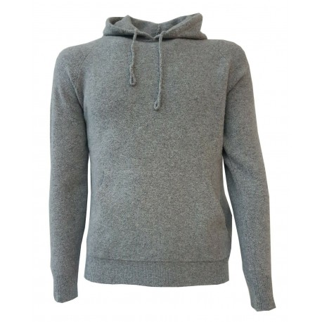 H953 Men's sweater FOOTING in pearl gray wool with hood MADE IN ITALY