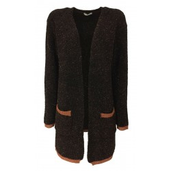 RUE BISQUIT cardigan woman black / copper copper profiles RW9008 LUX MADE IN ITALY