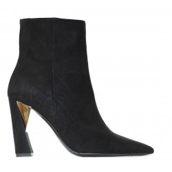 WO MILANO women's low boot black suede art W201 MADE IN ITALY