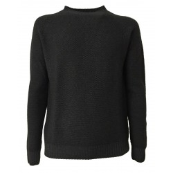 H953 Man crewneck sweater GRANA DI RISO HS2904 anthracite MADE IN ITALY