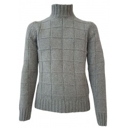 H953 Gray turtleneck man sweater DAMIE HS3053 100% merino wool MADE IN ITALY
