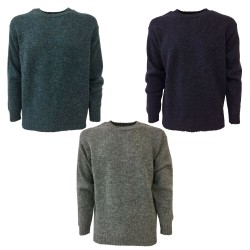 HAWICO Men's crew neck sweater BURNSIDE N 100% shetland wool MADE IN SCOTLAND