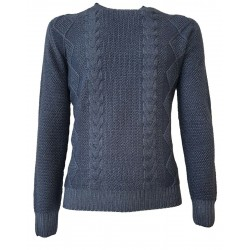H953 Reversible blue flat rib sweater 100% merino wool