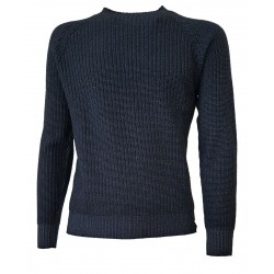H953 Reversible blue flat rib sweater 100% merino wool ISERE HS2942