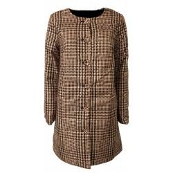 PUZZLE GOOSE light reversible pied de poule down jacket camel / black-plain black NADA