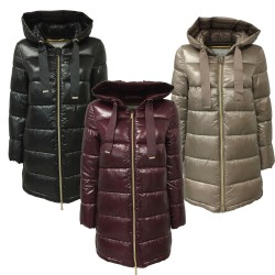 PUZZLE GOOSE woman down jacket with fixed hood with zip art VERA
