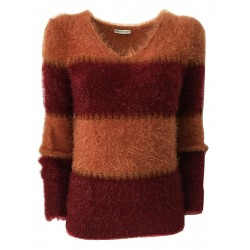 RUE BISQUIT woman V long sleeve shirt bordeaux / orange stripes art RW9042 FUR MADE IN ITALY