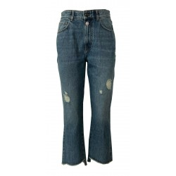 SEMICOUTURE jeans woman stone wash trumpet with zip Y0WY12 FERNANDE MADE IN ITALY
