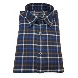 BROUBACK man shirt in cotton with pocket long sleeve checked MADE IN ITALY