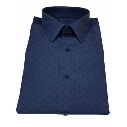 BROUBACK man shirt in indigo cashmere fantasy cotton SLIM FIT MADE IN ITALY