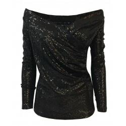 HANITA maglia donna nera scollata stampa paillettes H.M2131.2840 MADE IN ITALY