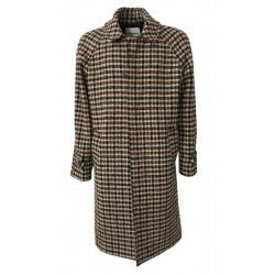 FRONT STREET 8 blue / dark brown / burgundy checked wool man coat art FR278 / B TWEED COAT MADE IN ITALY
