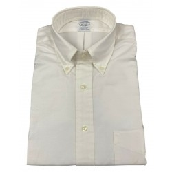 BROOKS BROTHERS white oxford man shirt with pocket button-down 100% SUPIMA cotton MADE IN USA