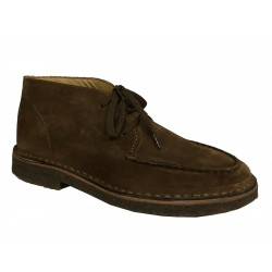 DRAKE's men's suede shoe with laces in burnt brown FOO-03SUE-18054 100% leather MADE IN ITALY