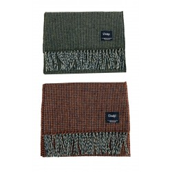 DRAKE'S man scarf with fringes patterned squares art SCF-06LAM-20757 75% lambswool 25% angora MADE IN SCOTLAND