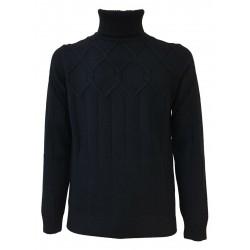 FERRANTE blue high neck wool man sweater art U22808 MADE IN ITALY