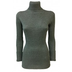 ISABELLE BLANCHE woman long ribbed sweater gray lurex green IS20FW-M165-F013 MADE IN ITALY