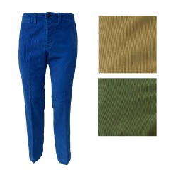MANIFATTURE MONTONE Chino in velvet 500 green lines mod.OLIVARO MADE IN ITALY