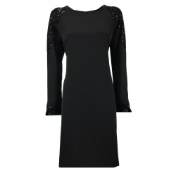 LA FEE MARABOUTEE abito donna manica lunga nero art FC5114 MADE IN ITALY