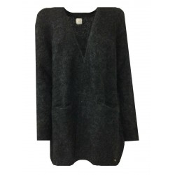 DES PETITS HAUTES woman cardigan without buttons long anthracite art DODO