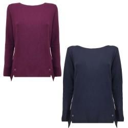 ROSANNA PELLEGRINI women's long sleeve crew neck sweater art 45086 100% merino wool MADE IN ITALY