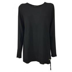 ROSANNA PELLEGRINI woman black long sleeve crewneck sweater art 45030 wool MADE IN ITALY