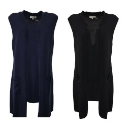 ROSANNA PELLEGRINI women's vest with pockets art 45044 100% merino wool MADE IN ITALY