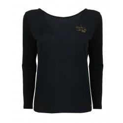 DES PETITS HAUTS woman long sleeve blue crew neck t-shirt GAMUTI 100% cotton