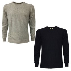 RE_BRANDED CASHMERE men's crewneck sweater with fleece cut art RB41 100% recycled cashmere MADE IN ITALY