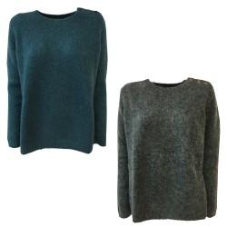 DES PETITS HAUTS woman crew neck sweater with shoulder buttons long sleeve BUKETTE