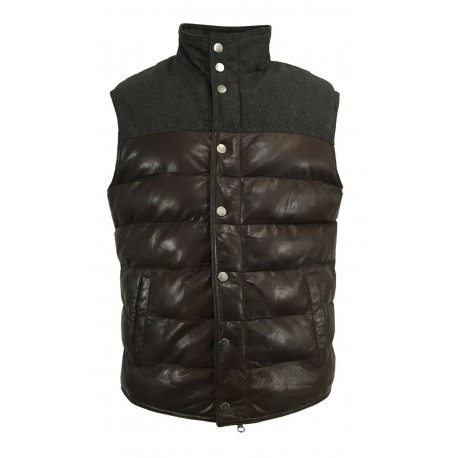 D'AMICO men's gilet in dark brown leather / anthracite wool with zip and buttons mod DGU0370 EVAN