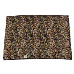 FUMAGALLI black foulard floral pattern / cashmere dark border HISTORICAL COLLECTION PLAN WO G-10 100% wool MADE IN ITALY