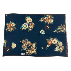 FUMAGALLI blue scarf with floral pattern / cashmere dark border HISTORICAL COLLECTION art PLAN G-13