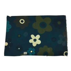 FUMAGALLI scarf wool blue flowers HISTORICAL COLLECTION ATLA WO T-06 MADE IN ITALY