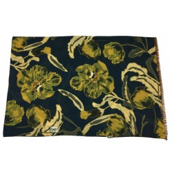 FUMAGALLI scarf wool blue / yellow flowers HISTORICAL COLLECTION ATLA WOT-04 MADE IN ITALY