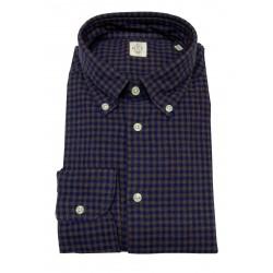 GMF 965 man flannel shirt button-down blue / dark squares art 92.L 902315/01