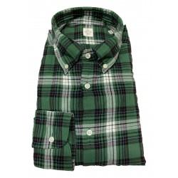 GMF 965 man shirt button-down green / black squares art 92.L 902322/03