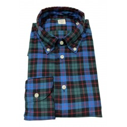 GMF 965 man shirt button-down blue / black / green squares art 92.L 902325/04