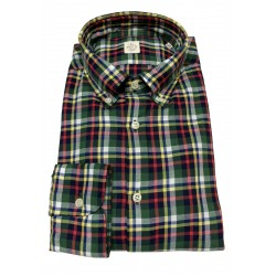 GMF 965 man shirt button-down blue / green / red / yellow squares art 92.L 902324/06 100% cotton