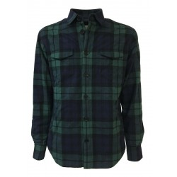 GMF 965 blue / green plaid checked shirt jacket lined with nylon art 902357/04