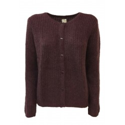 DES PETITS HAUTS women's cardigan round neck English rib bordeaux / lurex DIABOLO