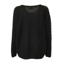 DES PETITS HAUTS woman black crewneck long sleeve shirt with inlay on the sleeve