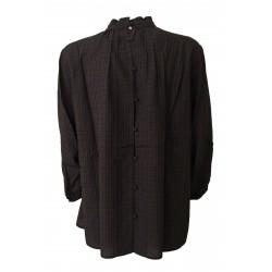 DES PETITS HAUTS blouse woman 3/4 square blue / bordeaux art TONIO