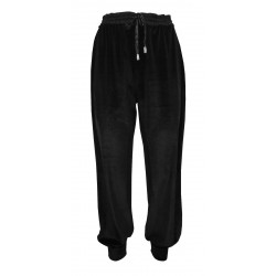 HANITA black chenille jogging woman trousers art H.P1089.2882 MADE IN ITALY