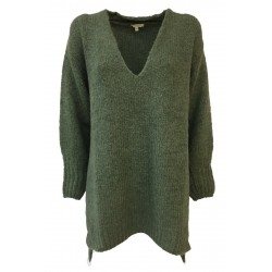 HUMILITY 1949 green woman sweater with side slits art HB2050 MADE IN ITALY