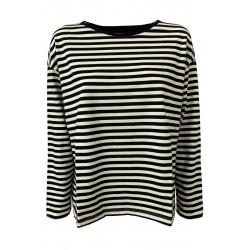 DES PETITS HAUTS women's t-shirt long sleeve heavy cotton ecru / blue stripes art KAINI
