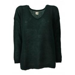 DES PETITS HAUTS woman long sleeve v-neck green / gold lurex shirt art DERBY
