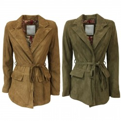 BLUSOTTO woman suede jacket with belt art PATTY 100% leather MADE IN ITALY